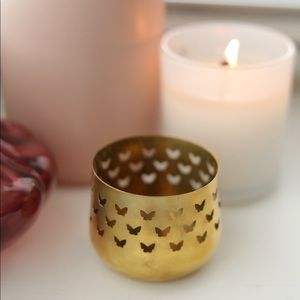 Vintage Brass Butterfly Tea Light Candle Holder